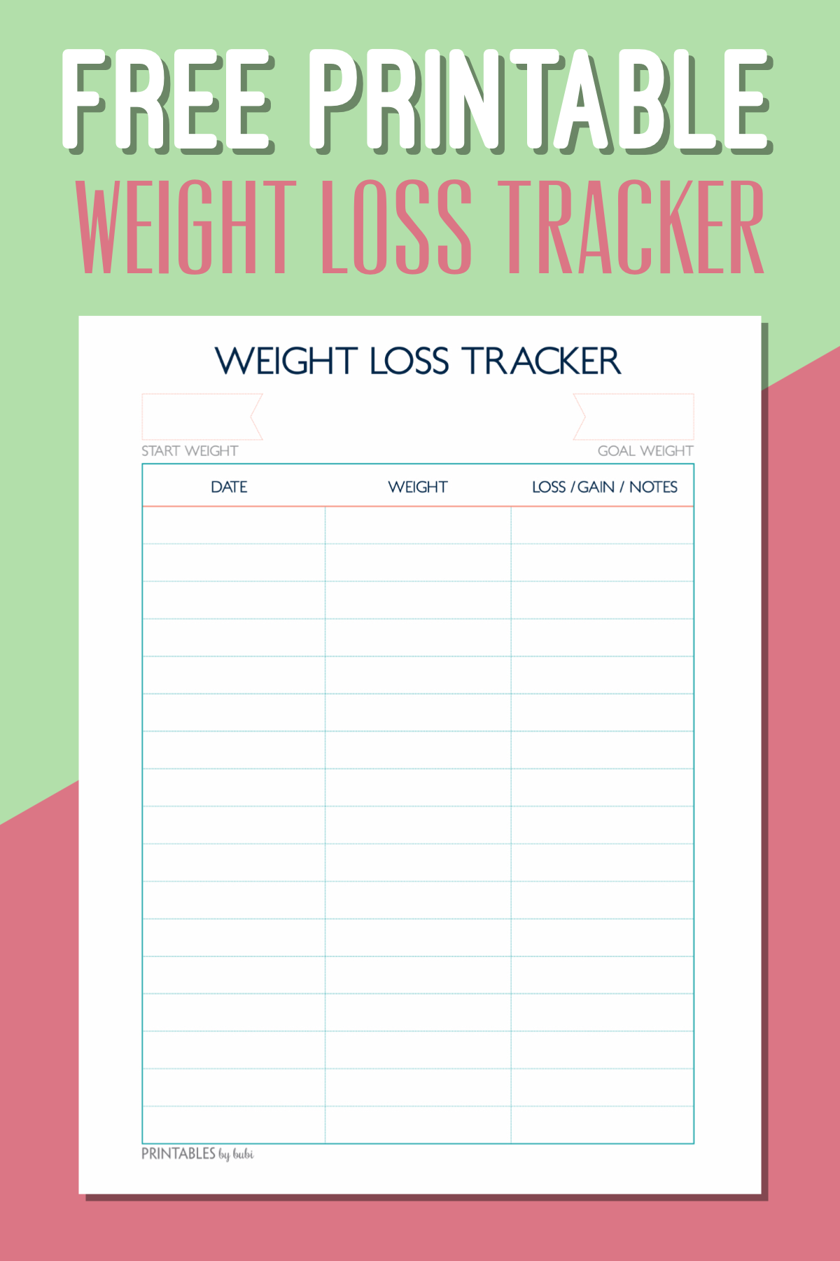 Free Printable Weight Loss Tracker Instant Download