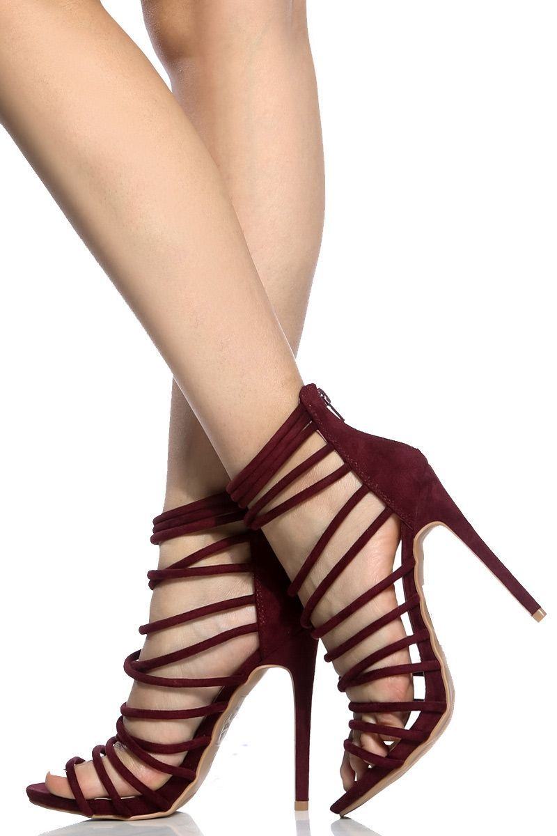 1ef2c8954808 Wine Faux Suede Multi Strap Heels   Cicihot Heel Shoes online store  sales Stiletto Heel Shoes