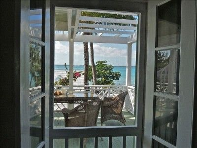 """""""Strawberry House"""" View from Lounge through French doors to the Bayside"""