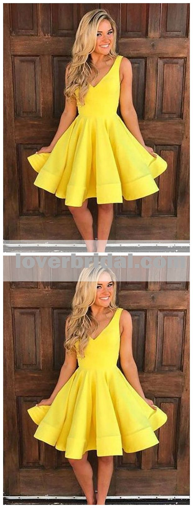 V neck pastel yellow short homecoming dresses under cm