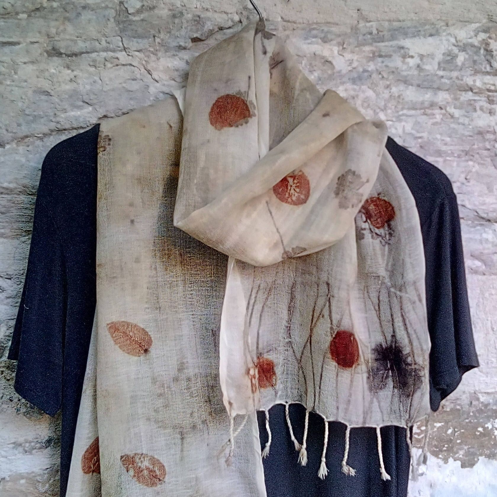 Eco printed light wool scarf  Hand loom Eco fashion Art to wear Statement scarf by SalkimiCreations on Etsy