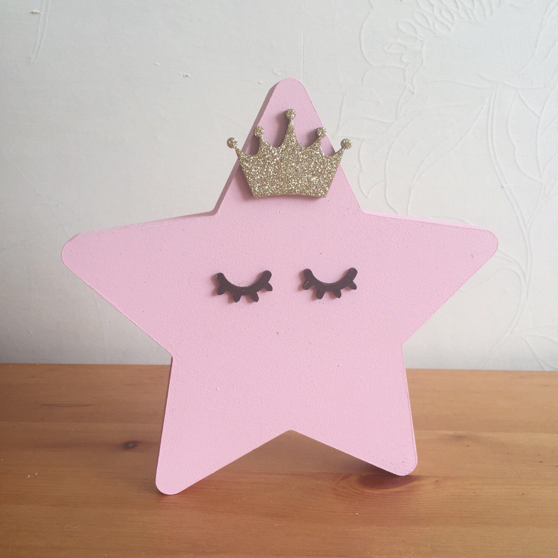Wooden Star Nursery Decor Sleepy Eyes Uni S Pastle New Baby Princess Scandi Style