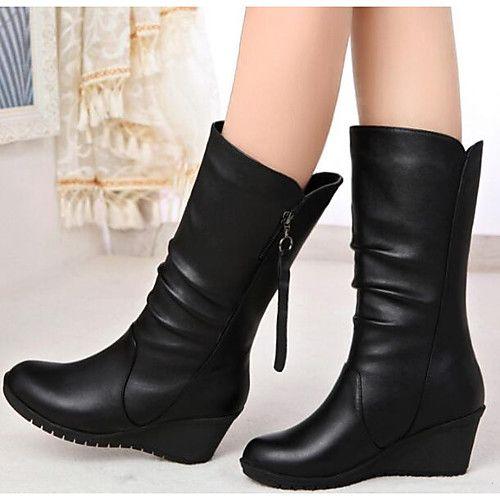 Mujer Zapatos Cuero de Napa Invierno Otoño Botas de Moda Botas Tacón Plano  Botines/Hasta el Tobillo Mitad de Gemelo para Casual Negro | Botines hasta  los ...