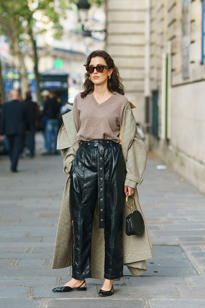 How To Style A Trench Coat Outfits Ideas French Street Sweater Leather Pants Slingback Flats