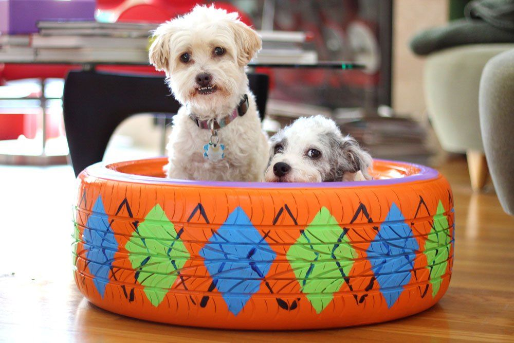 Upcycled Rubber Tire Pet Bed With