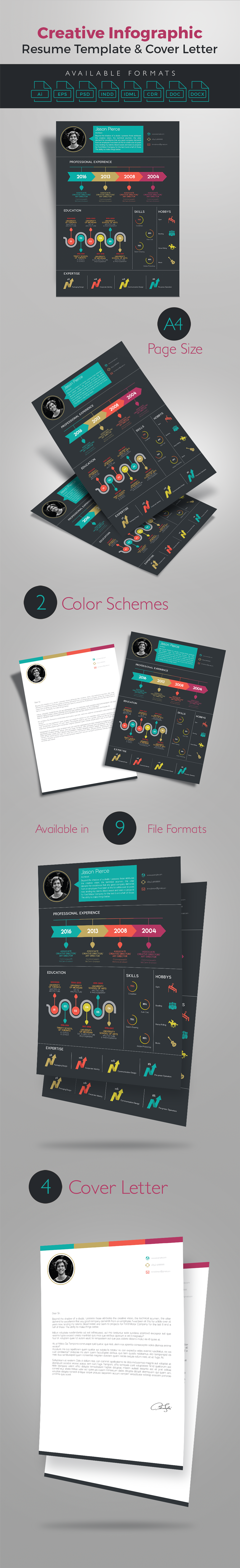 Creative Infographic Resume Template With Cover Letter