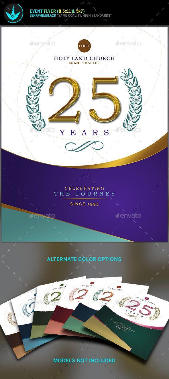 Regal Gold Lavender plus Teal Church Anniversary Flyer Template
