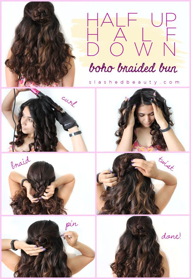 Half Up Half Down Boho Braided Bun Tutorial Hair Pinterest