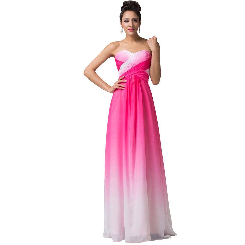 A-Line Ombre Chiffon Long Evening Bridesmaid Dress   Pinterest