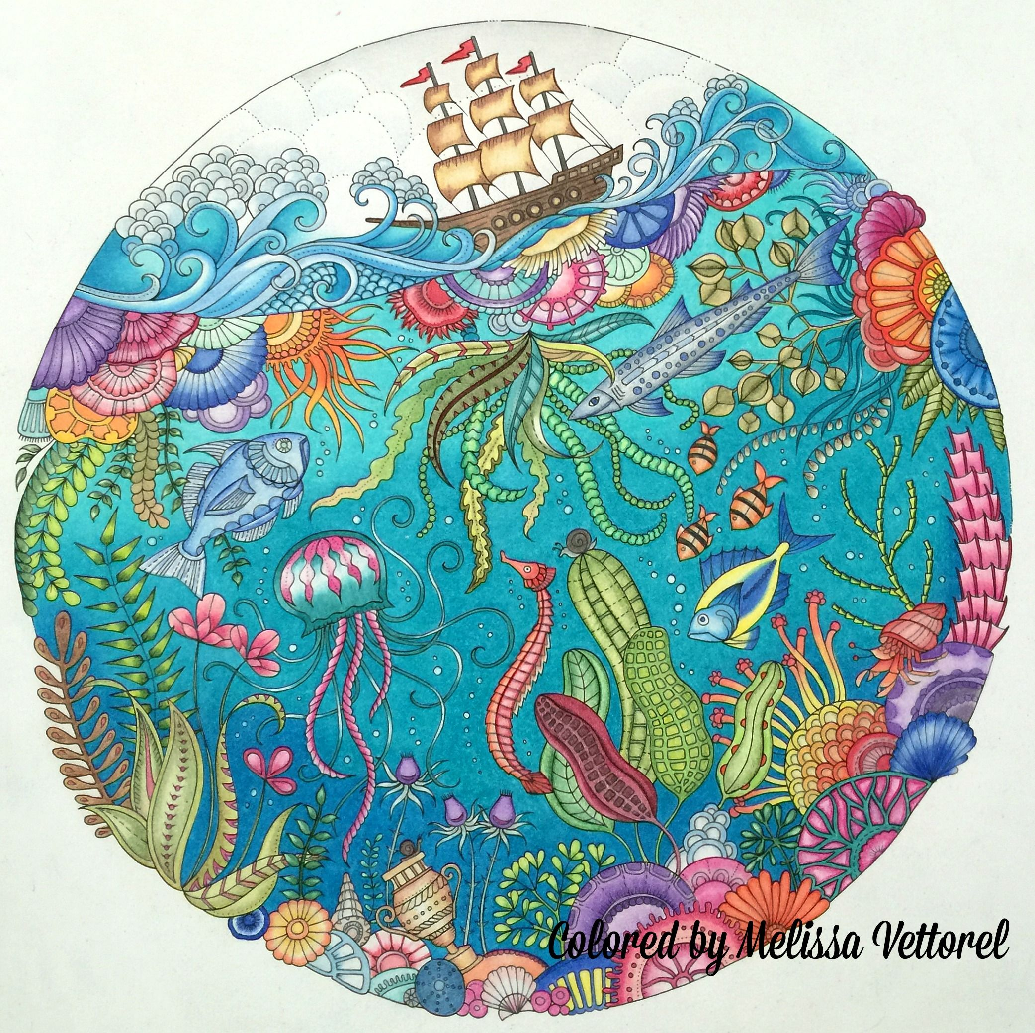 From Lost Ocean coloring book by Johanna Basford Colored with