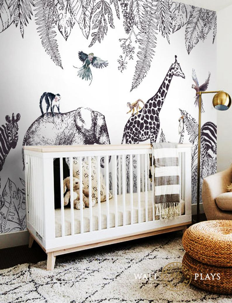 Safari Peel And Stick Wallpaper Mural Sold As Per Sheet Pictured Is Full Set And Must Be Purchased In 6 Sheets In 2021 Toddler Boy Room Decor Nursery Baby Room Boys Bedroom Wallpaper