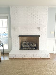 Painting Our Brick Fireplace White Emily A Clark White Brick Fireplace Painted Brick Fireplaces Brick Fireplace