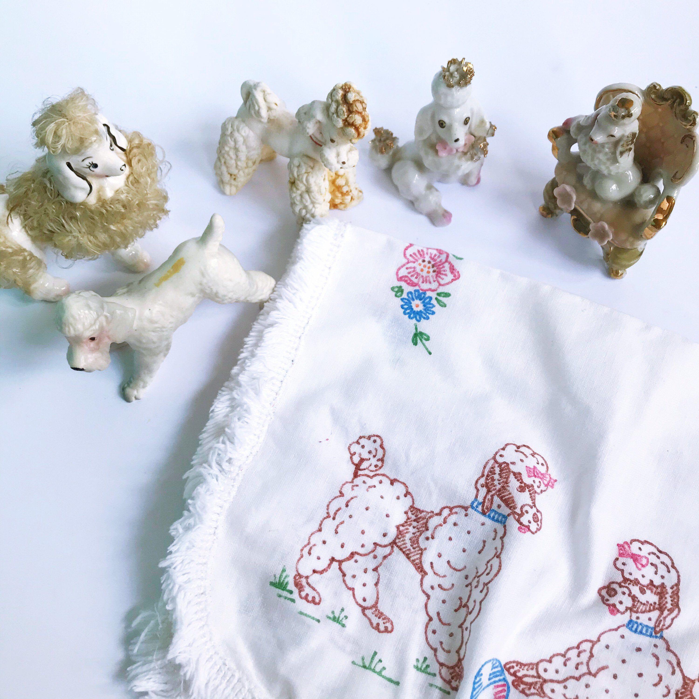 Excited to share this item from my #etsy shop: VINTAGE | lot of vintage poodles #poodlecrafts #doglover #poodlelover #tablemat #poodledecor #dogs #poodle #demarsvintage