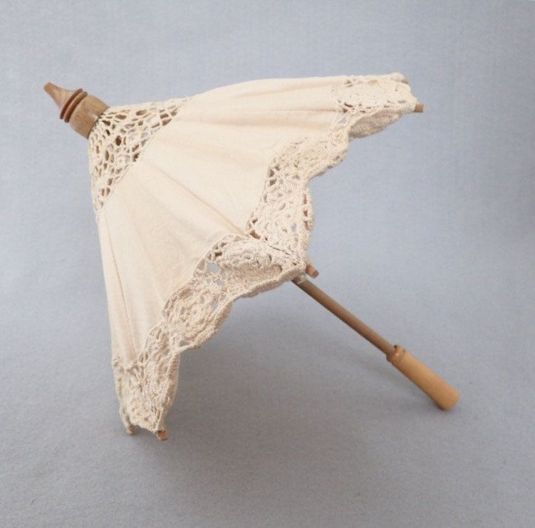 Doll Parasol Vintage Ecru Crocheted Lace Sun Umbrella American Girl Accessory Edwardian Victorian Cottage Decor Altered Art Supply by injoytreasures on Etsy