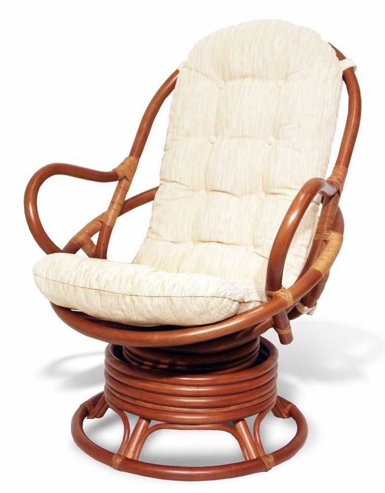 Java Handmade Design Rattan Wicker Swivel Rocking Chair With Thick Cushion Part 55