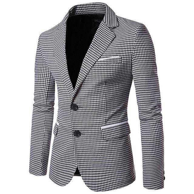 Plaid  Houndstooth Mens Blazers Single Breasted Casual Slim Fit ... 4ee78790ae6