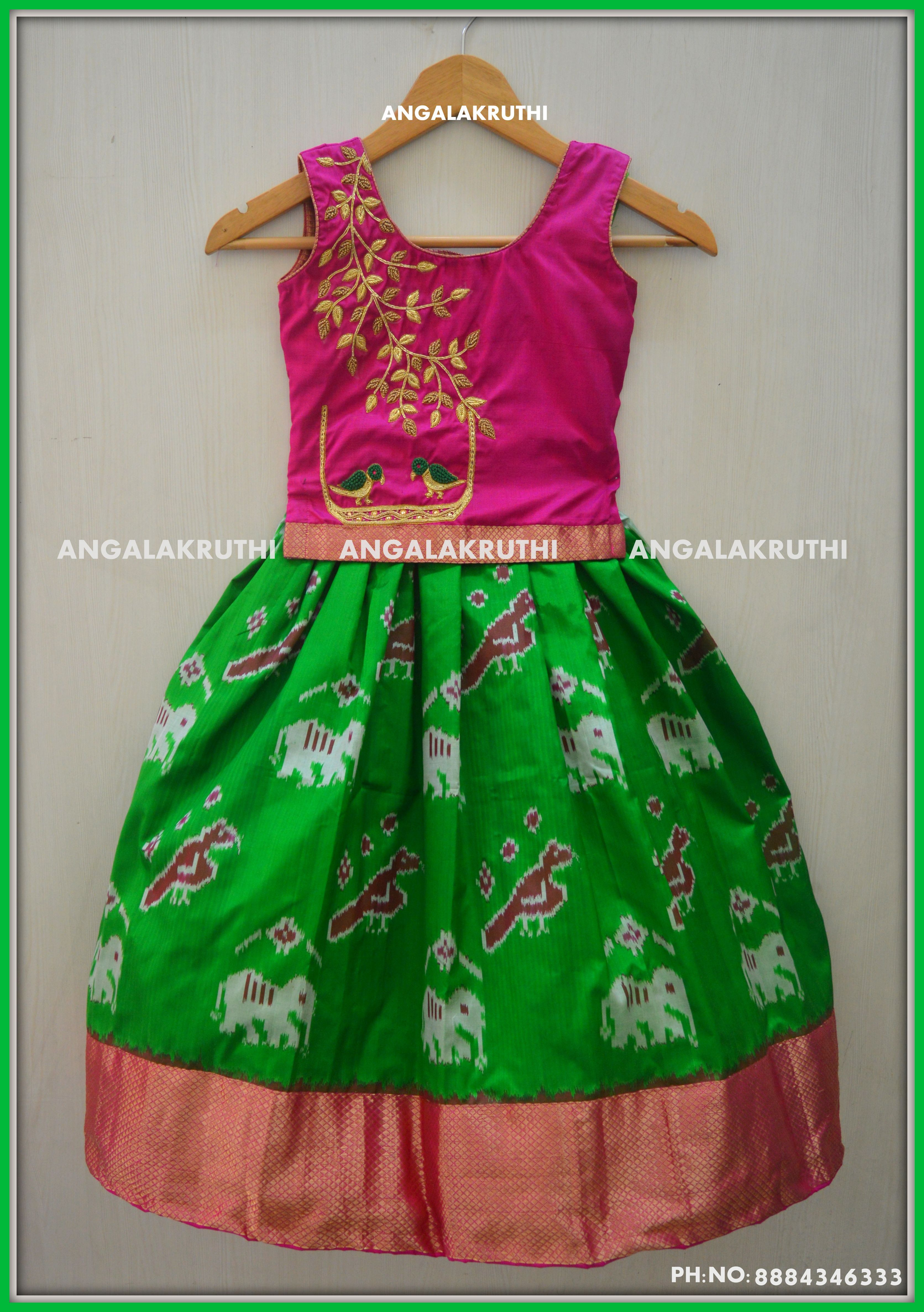 1fca1a444c86d6  Kids pattu lehenga designs with hand embroidery  Hand embroidery designs  for kids pattu pavada  Pattu pavada designs by Angalakruthi  watsapp 8884347333 ...