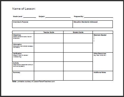 lesson planning sheet template