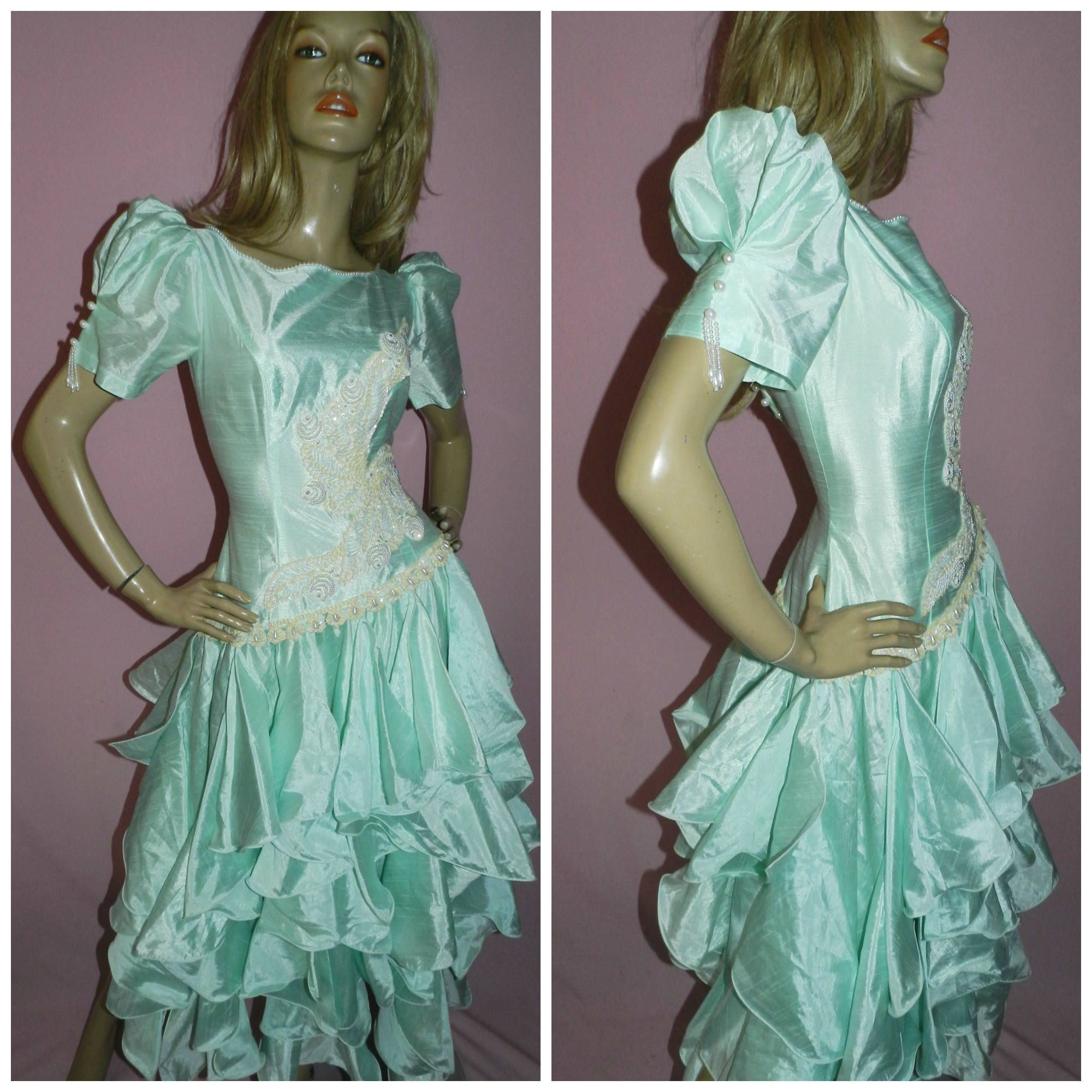 Vintage 80s Peppermint Green Sequin Origami PRINCESS PROM Party ...