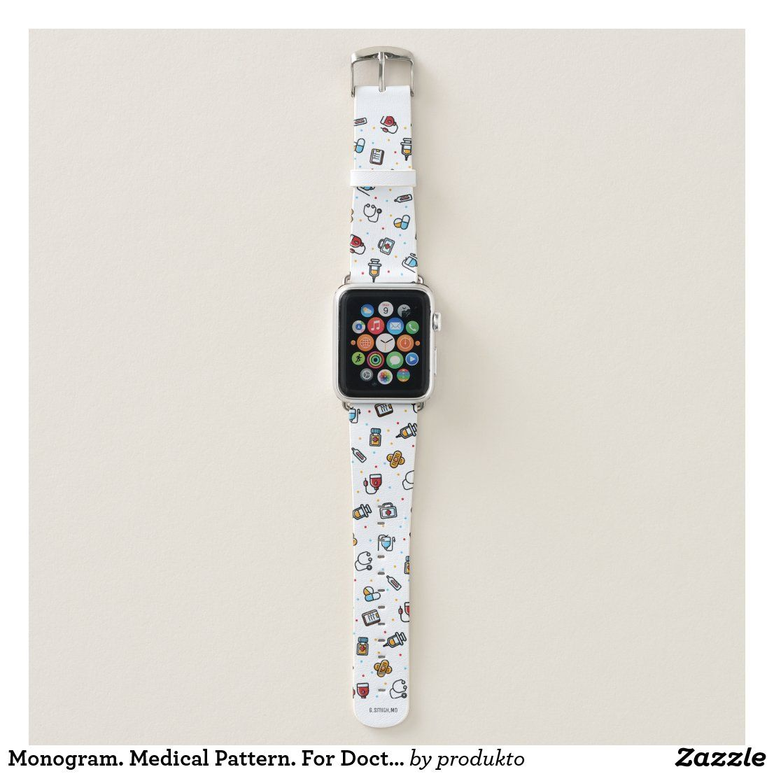 Monogram. Medical Pattern. For Doctors and Nurses Apple Watch Band | Zazzle.com