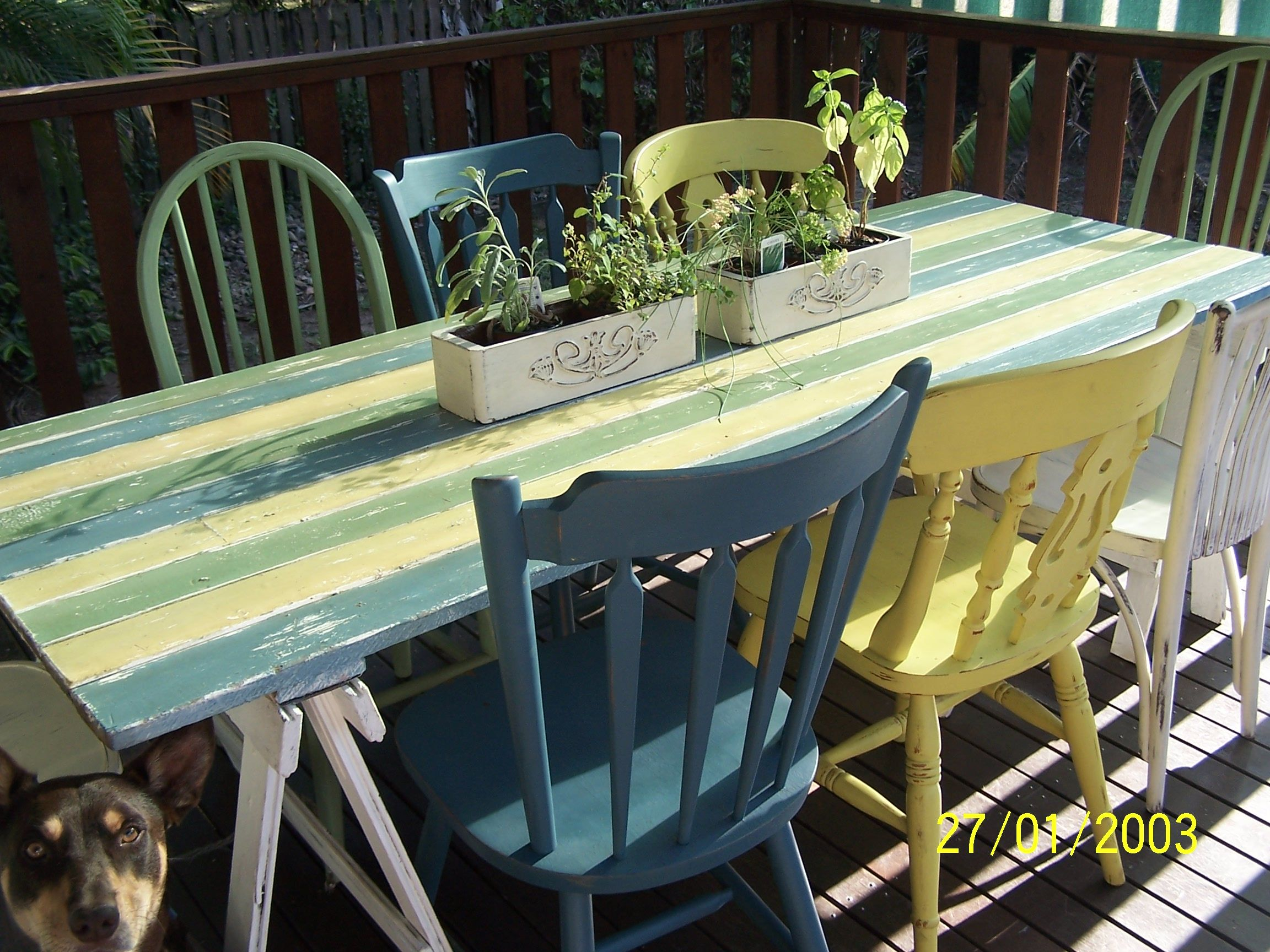Trestle Table Made From 100 Year Old Door Paint In Annie Sloan Chalk