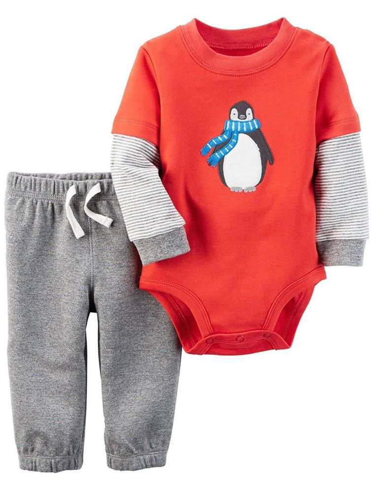 Carters Newborn Baby Boy NWT 2 Pc Set Red Penguin Long Sleeve Bodysuit and Pants