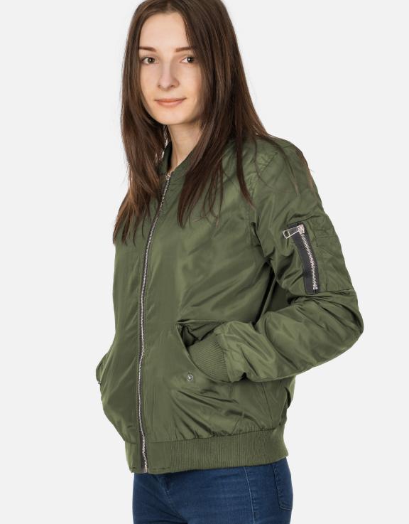 Moda Damska Kurtka Damska Bomberka Zielona Kurtka Jackets Outerwear Bomber Jacket