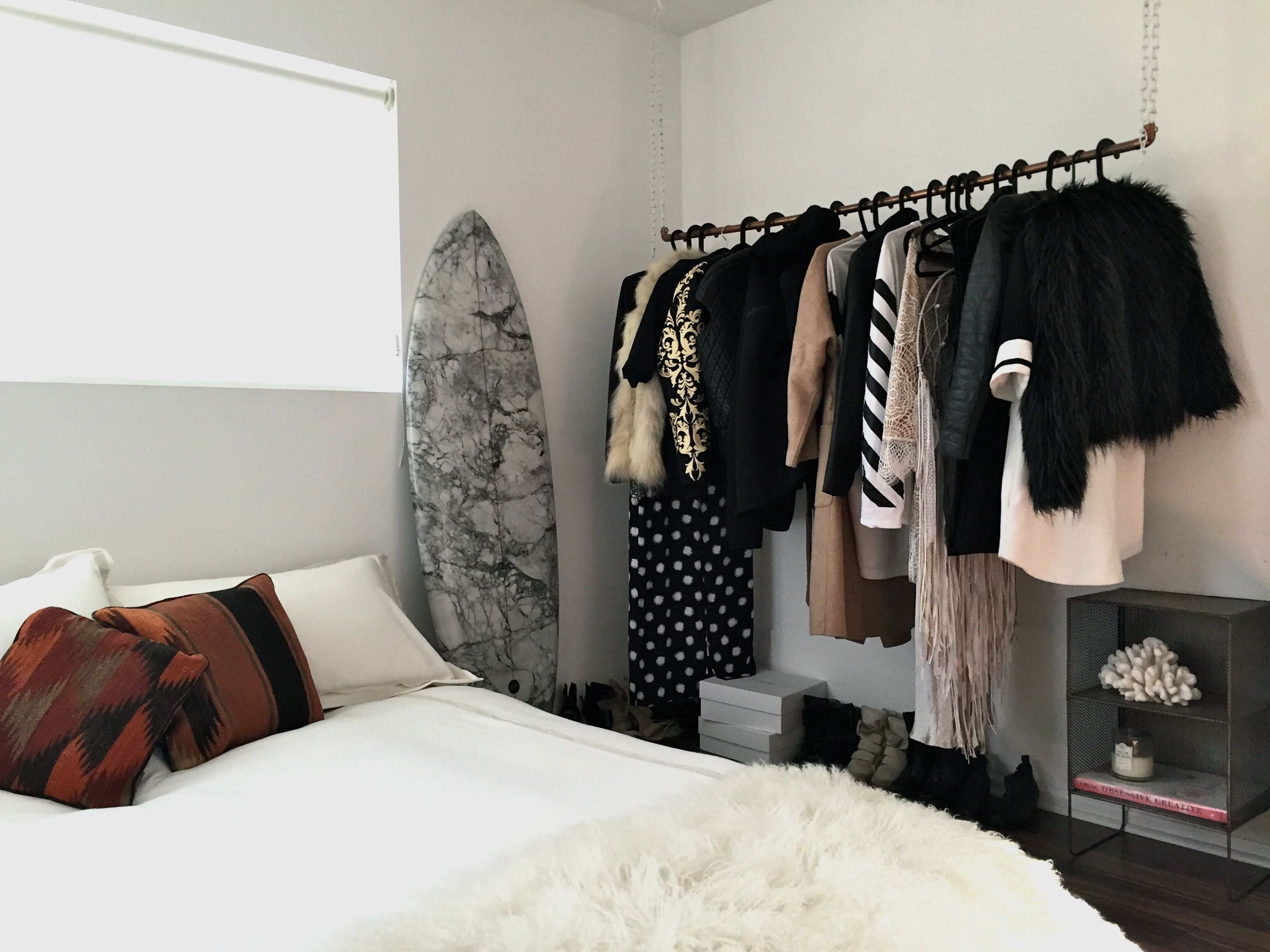 bedroom styling, bedroom decor, interior design, marble surfboard
