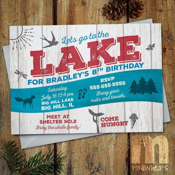 Lake Party Kids Birthday Invitation, Digital Printable Invitation - fresh invitation card for birthday online