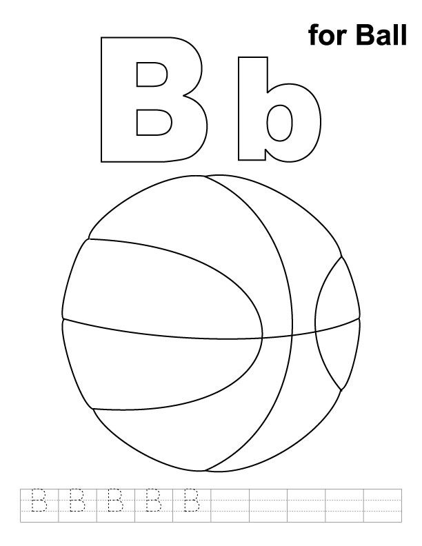 B for ball coloring page with handwriting practice