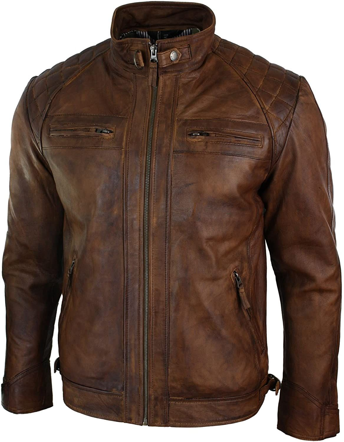 Mens Retro Style Zipped Biker Jacket Real Leather Washed Soft Tan Brown Casual Amazon Co Uk Clothing Waterproof Motorcycle Jacket Men S Retro Style Jackets [ 1500 x 1167 Pixel ]