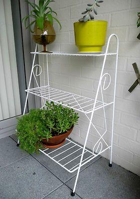 Vintage Three (3) Tier Wrought Iron Pot Plant Stand Retro Shabby Chic /  Balcony