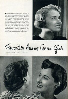 Favourite hairstyles among career girls (1948). #vintage #1940s #hair