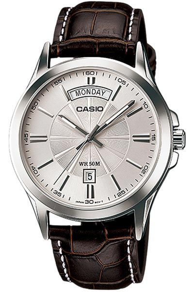 3e58883aff9 Casio Standard Analog  Gents Quartz Day Date Brown Leather Watch   MTP.