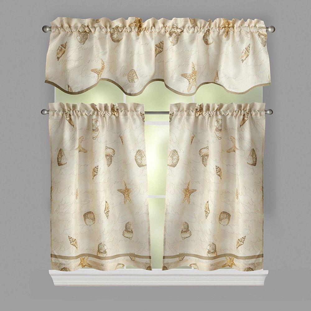 Coastal Seashell Valance And Tier Curtain Set Soft Neutral Colors