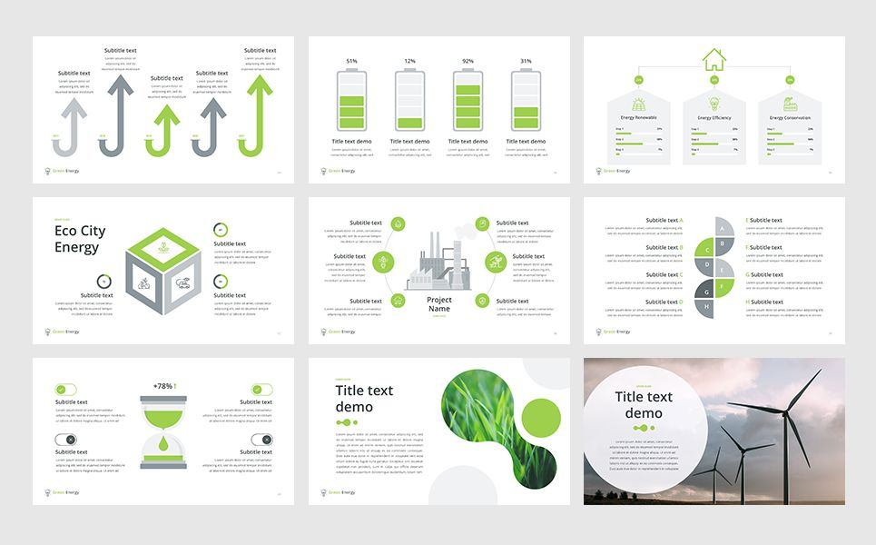 Green Energy Powerpoint Template Factors Pinterest Templates