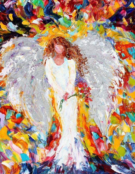 Original oil Painting Angel with Roses PALETTE by Karensfineart