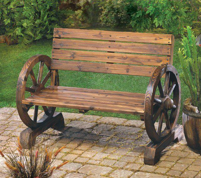 Rustic Patio Porch Lawn Wagon Wheel Wood Bench Seat Outdoor