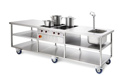 Stainless Steel Bakers Table Complete With Sink And Inbuilt Induction Hobs Bakers Table Kitchen Work Tables Catering Equipment