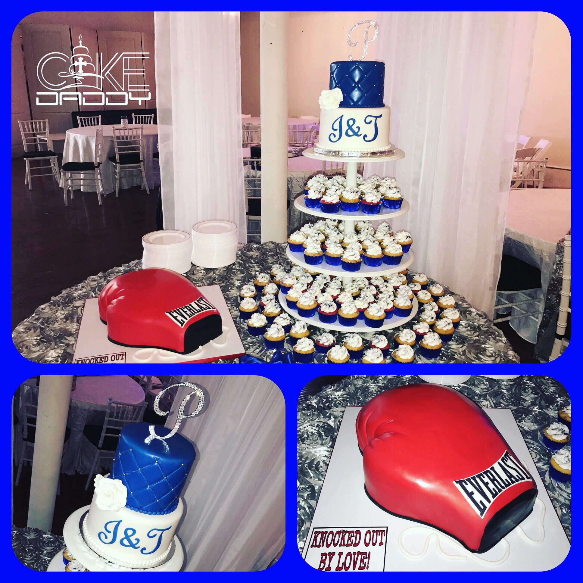 Royal Blue Wedding Cake Cupcakes With Boxing Glove Groom Cake