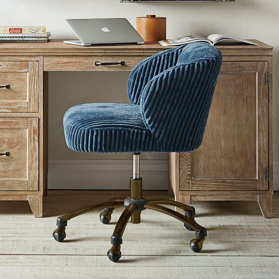 Amazing Midnight Chamois Wingback Desk Chair | PBteen