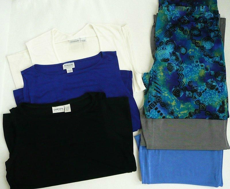 CHICO'S TRAVELERS Lot of 6 Size 3 (XL) Mix Match Pants Tank Tops Stretch Slinky #ChicosTravelers
