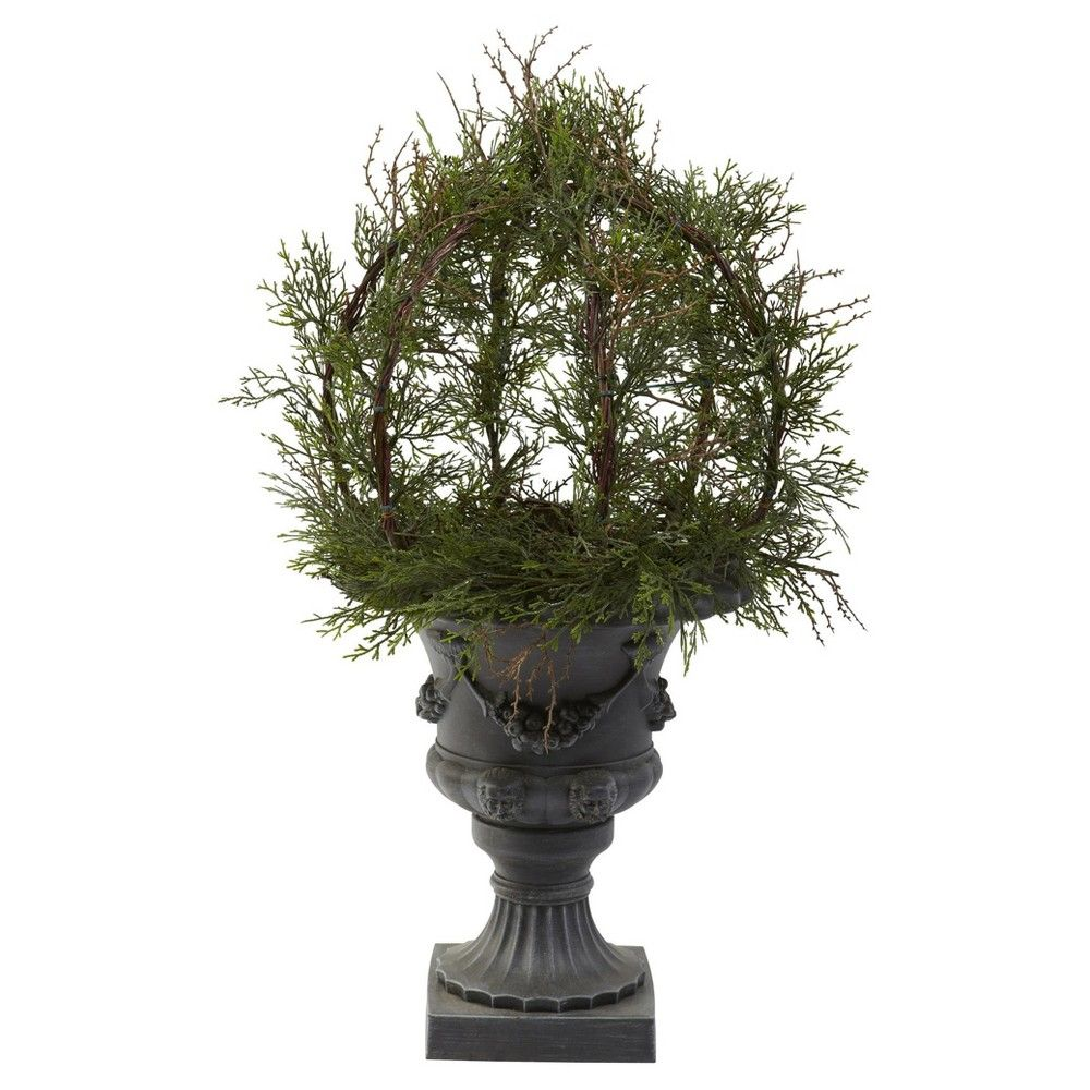 Artificial ft pond cypress topiary with urn indooroutdoor