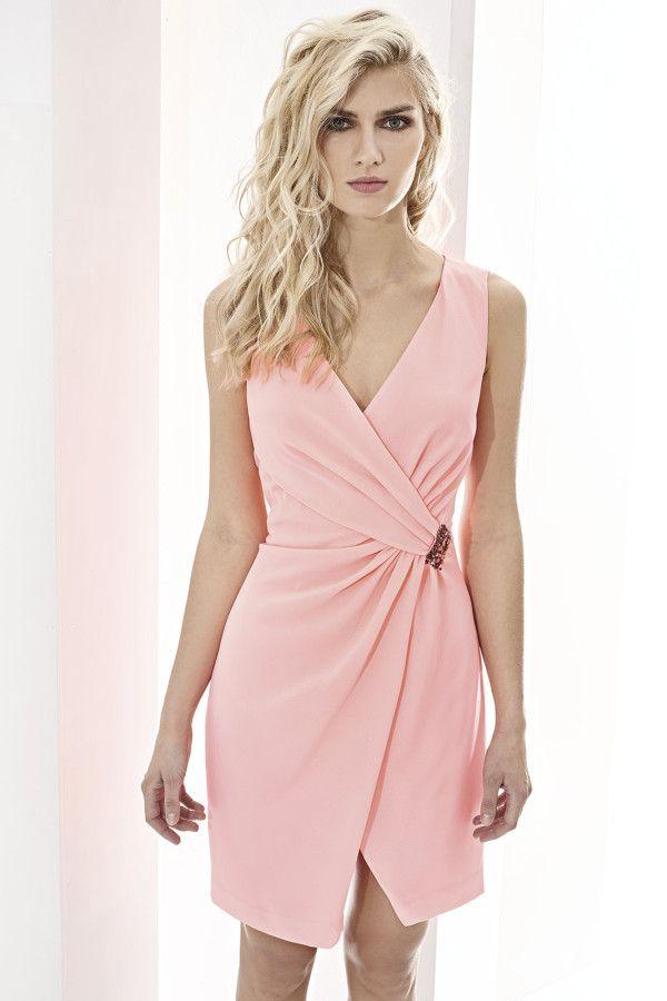 CABOTINE ESSENTIAL 07467 Vestido corto asimétrico en crepé con ...