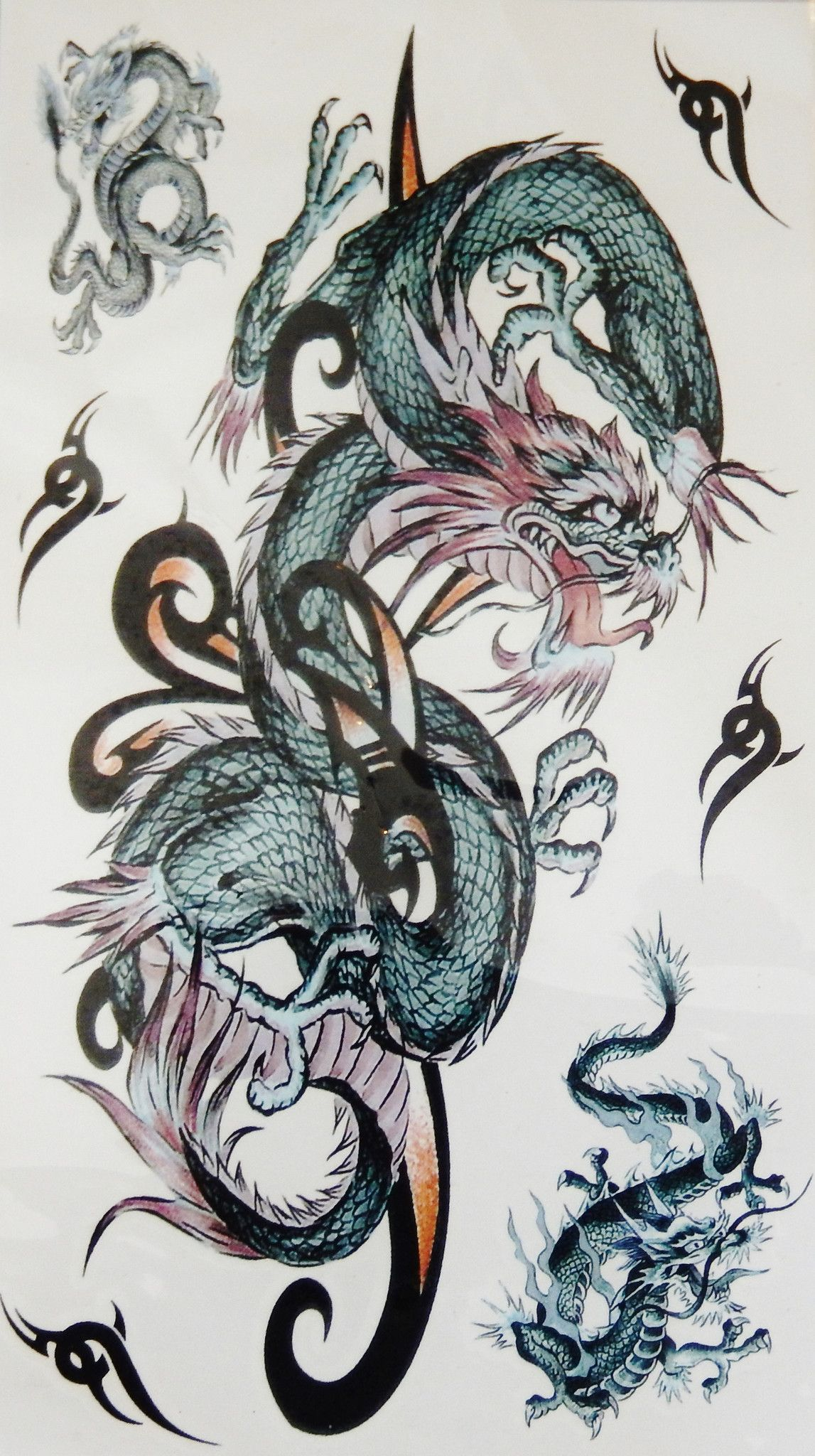 Large Colorful Dragon Arm Leg Back Temporary Tattoo