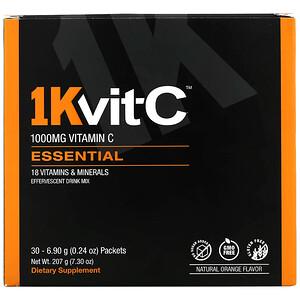 1kvit C مزيج شراب فوار فيتامين ج Essential نكهة برتقال طبيعية 1000 مجم 30 كيس ا 0 24 أونصة 6 90 جم لكل كيس 2020 비타민 오렌지 콜라겐