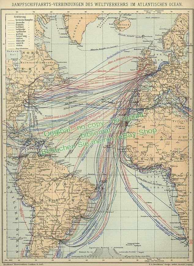 Steamship Routes in the Atlantic Ocean 1905