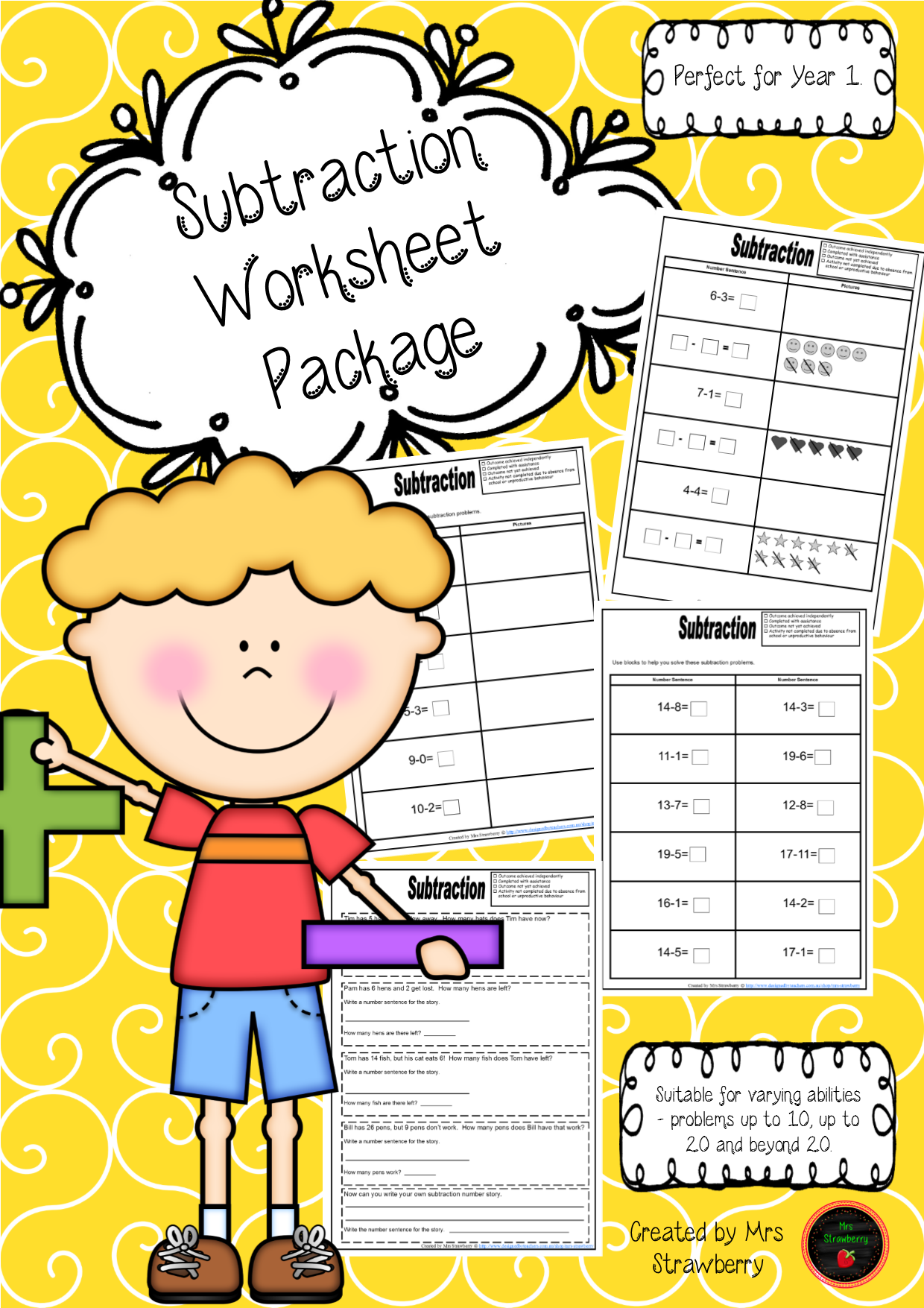 A Series Of Subtraction Worksheets That Cater For Varying Abilities