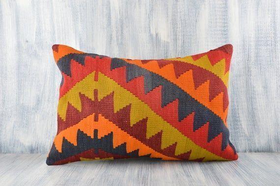 Textured Kilim Pillow, 16x24 Pillow Case, Boho Sham Cover, Handwoven Turkish Kil : Textured Kilim