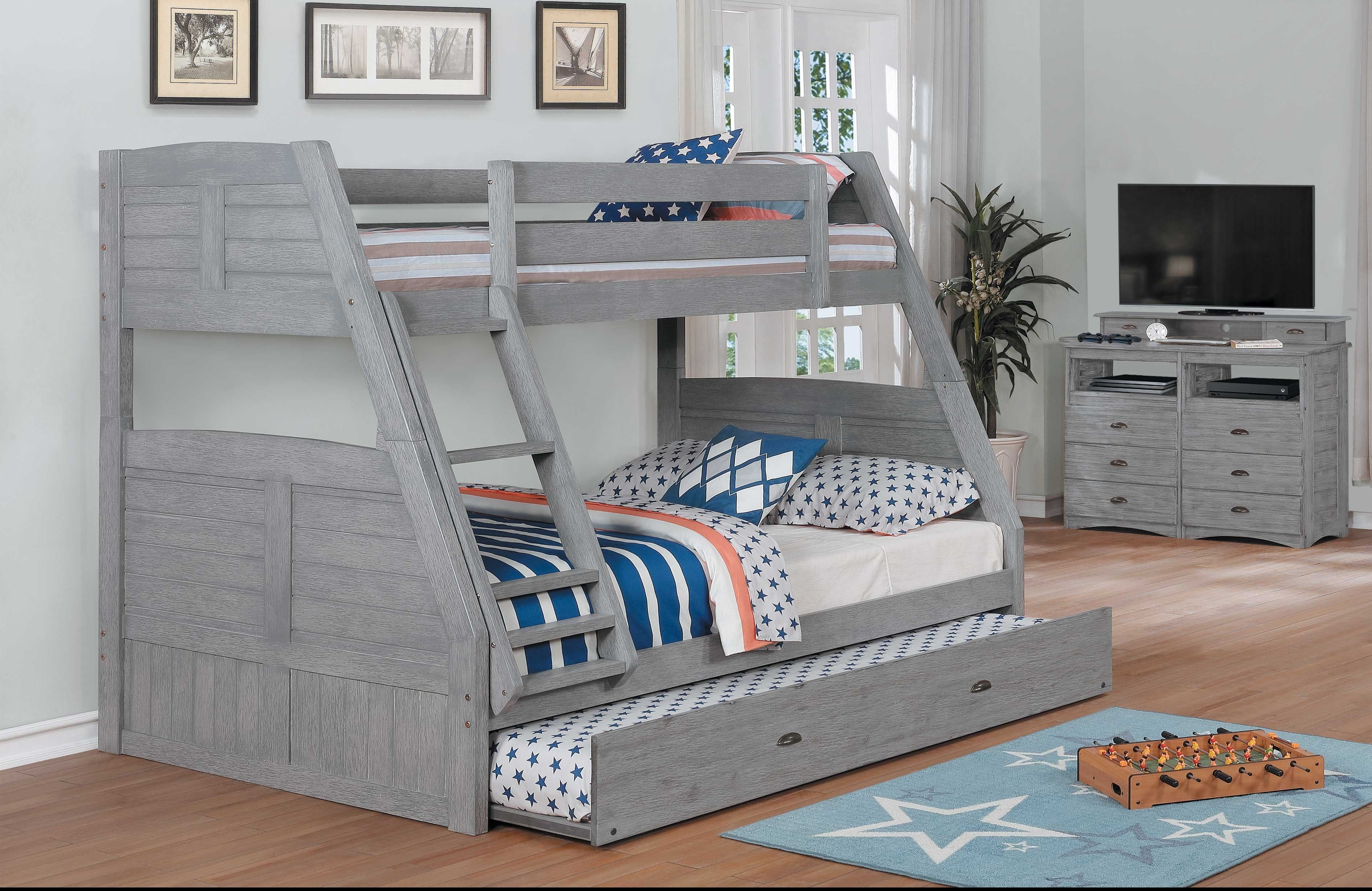 Discovery World Furniture Grey Twin Full Bunk Bed Acacia